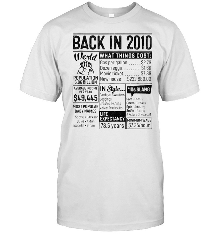 Back In 2010 Retro 11 Years Old 11Th Birthday Shirt