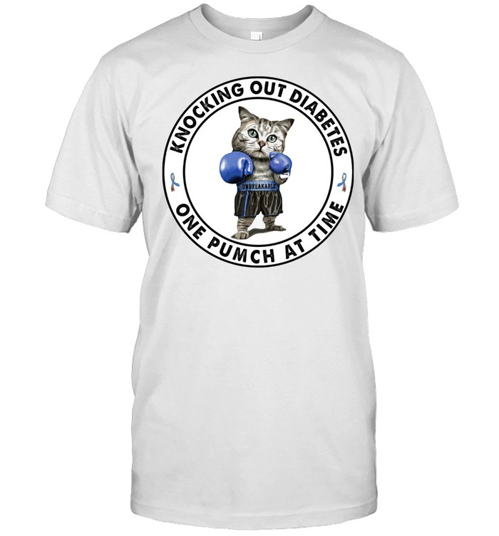 Cat Knocking Out Diabetes One Punch At Time Shirt