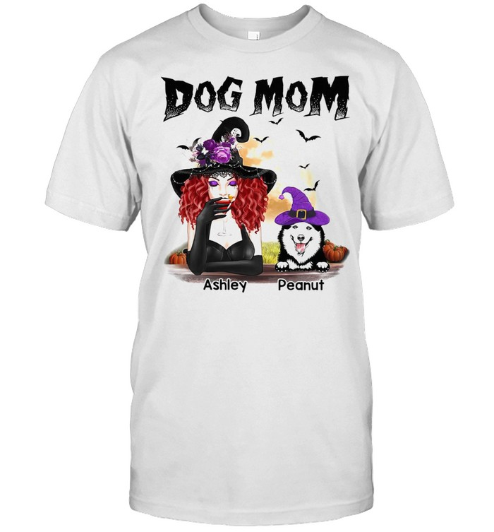 Halloween Witch Dog Mom Personalized Shirt