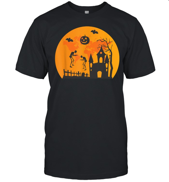 Scary Halloween With Moving Skeletons And Mysterious Castles Shirt