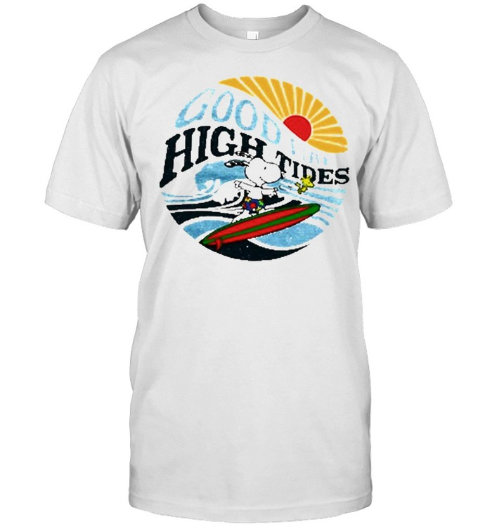 Snoopy And Woodstock Surf Good Vibes High Tides Shirt